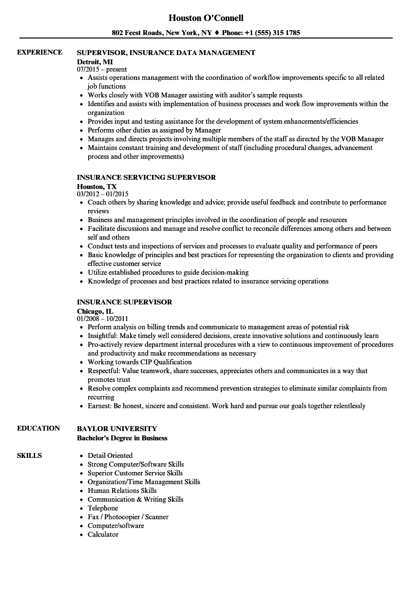 insurance supervisor resume samples velvet jobs