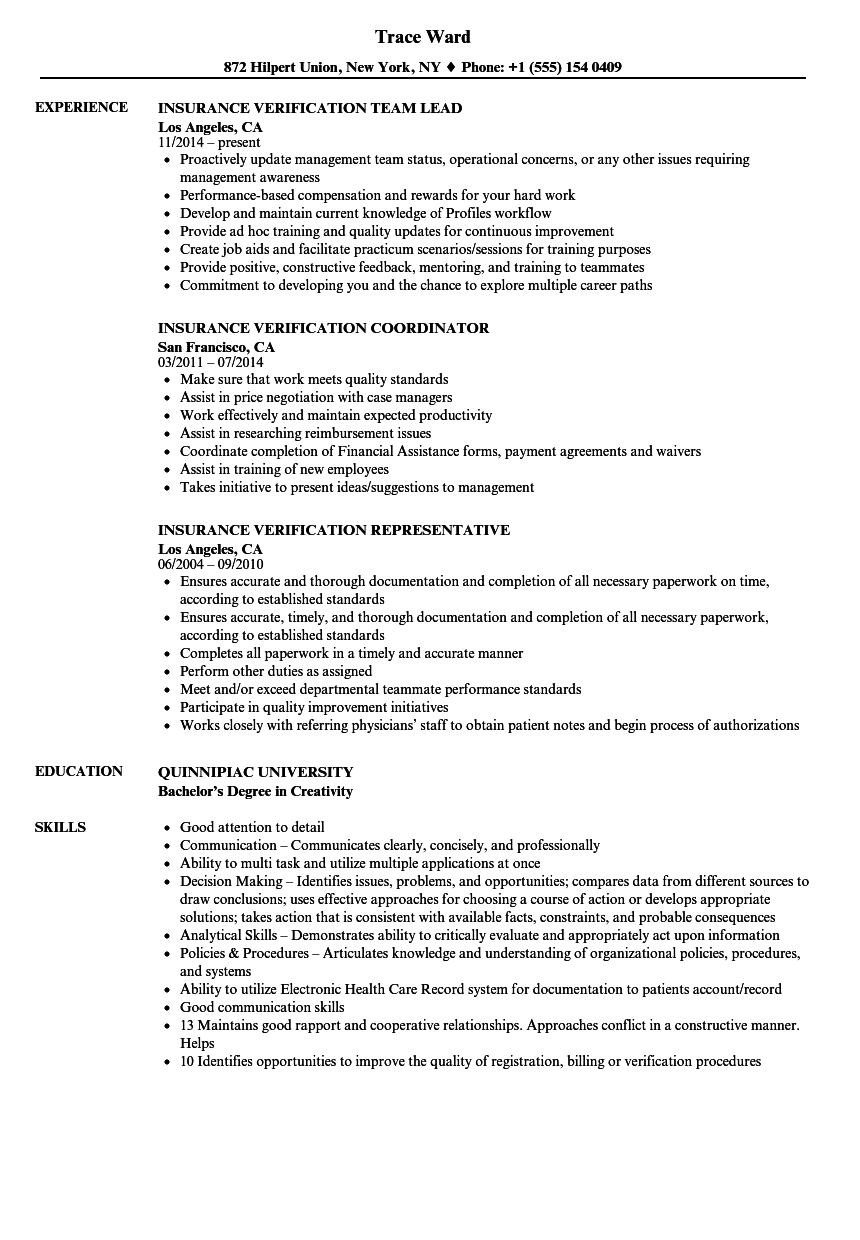 insurance verification resume samples
