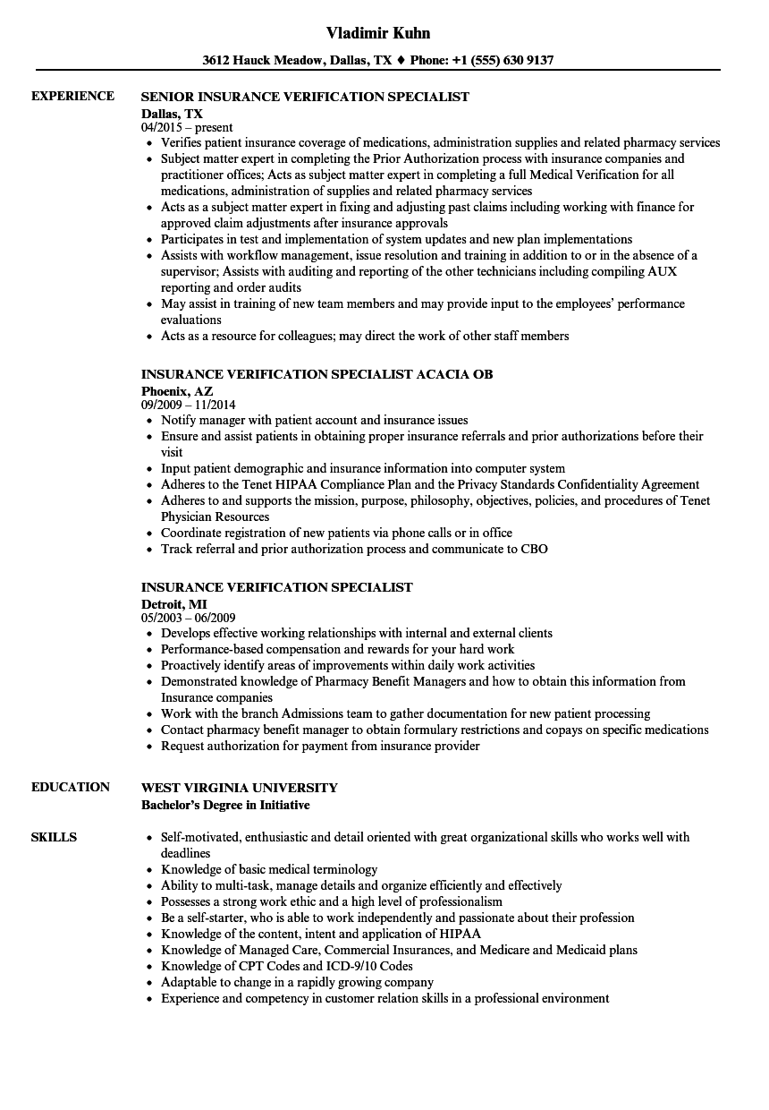 Insurance Verification Specialist Resume Samples Velvet Jobs