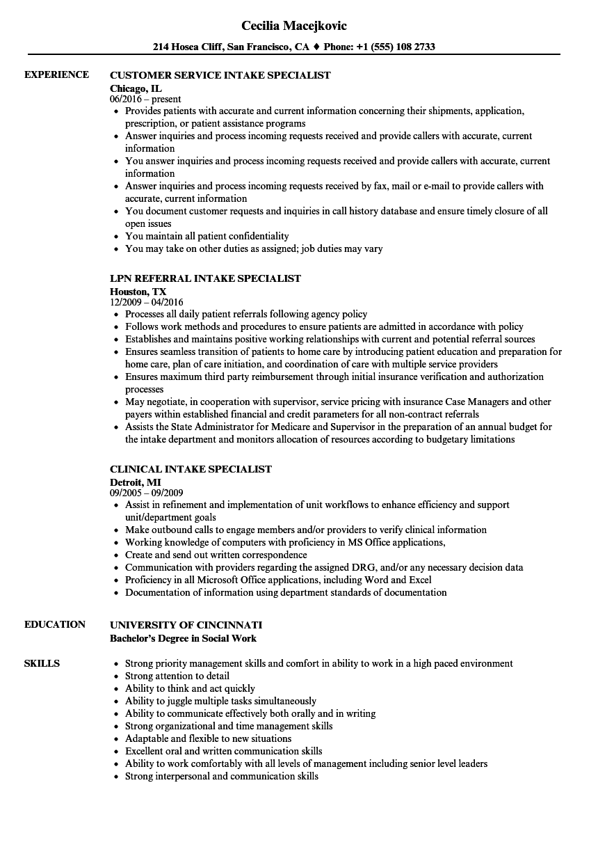 Intake Specialist Resume Samples