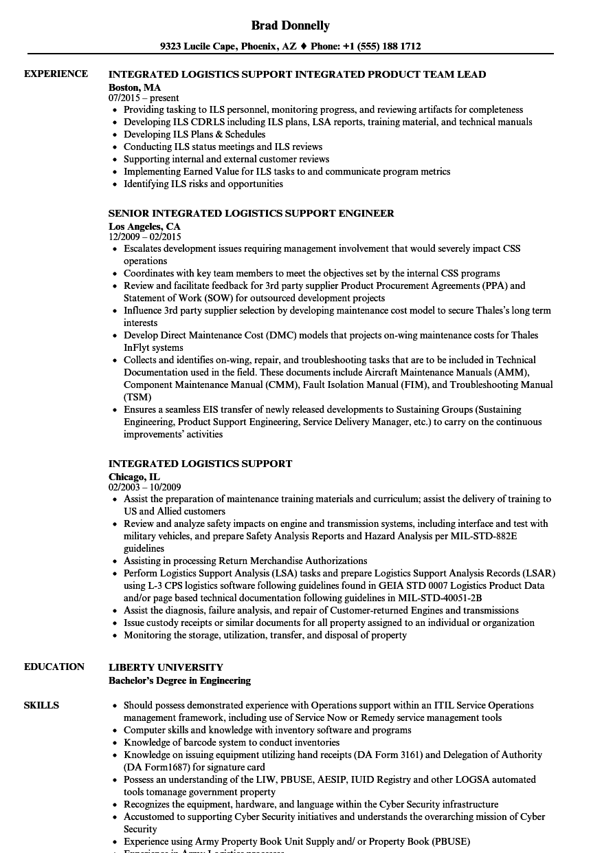 integrated logistics support resume samples