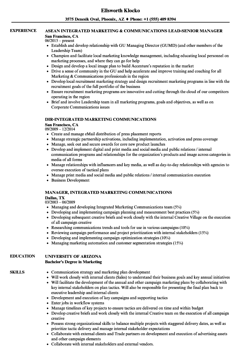 integrated marketing  u0026 communications resume samples