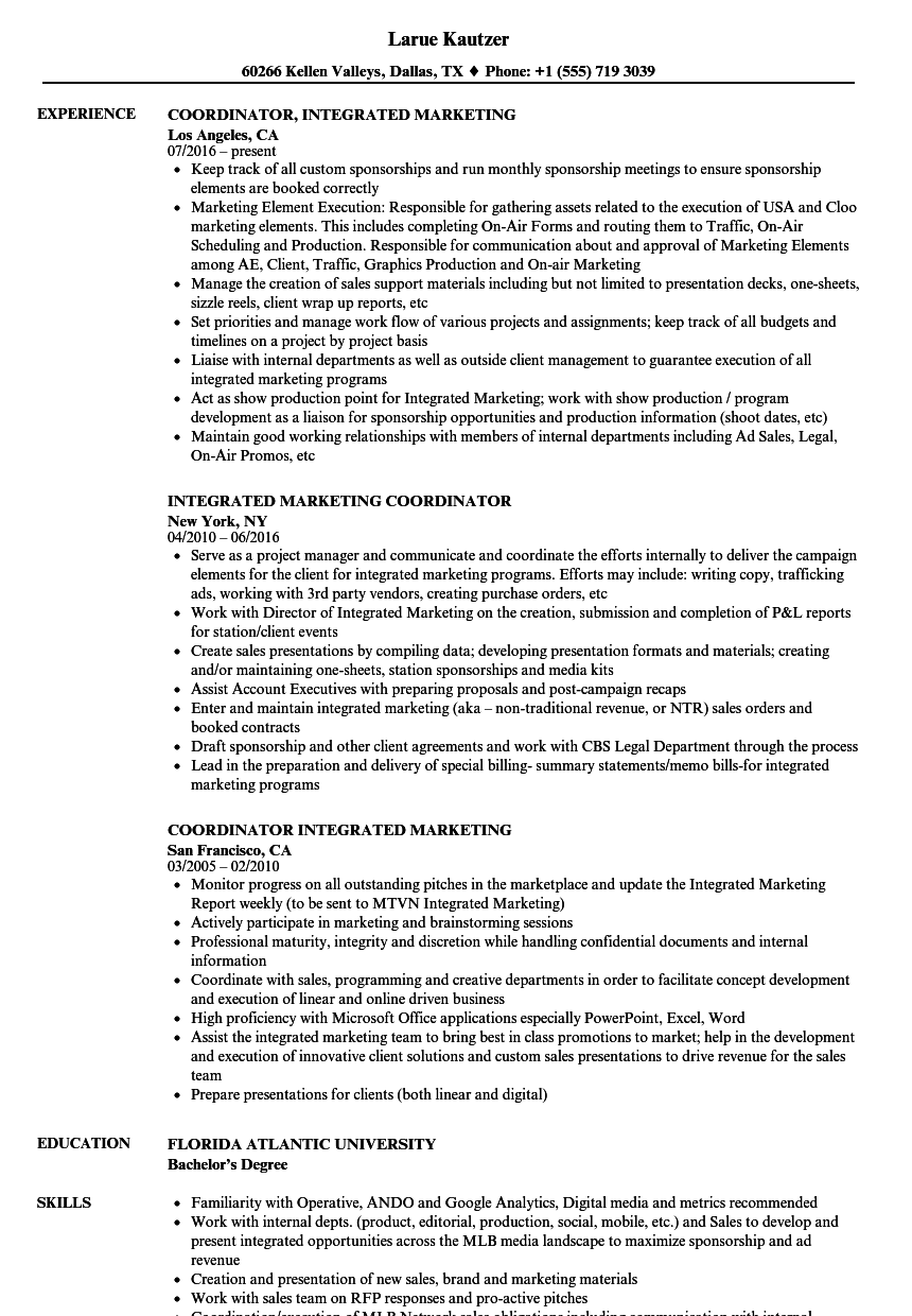 Integrated Marketing Coordinator Resume Samples | Velvet Jobs