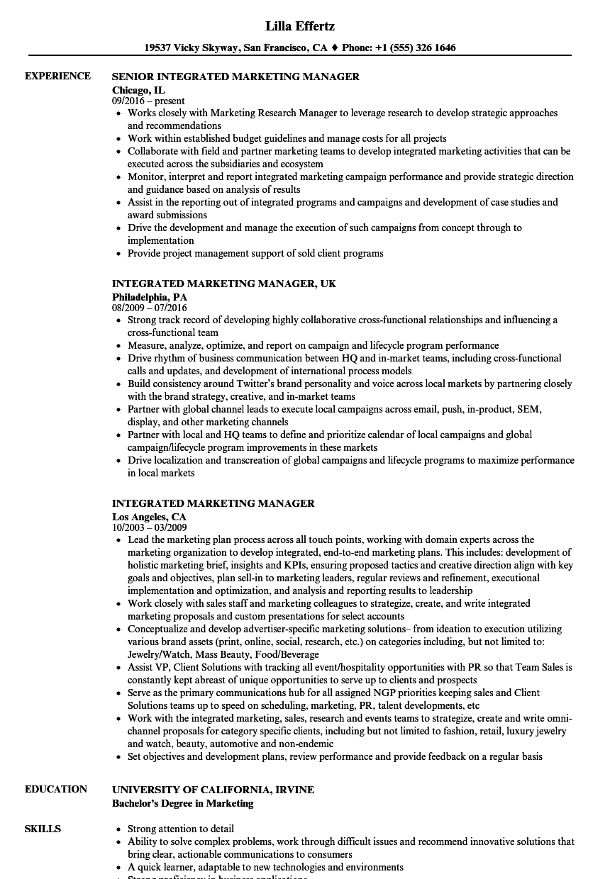 Integrated Marketing Manager Resume Samples | Velvet Jobs