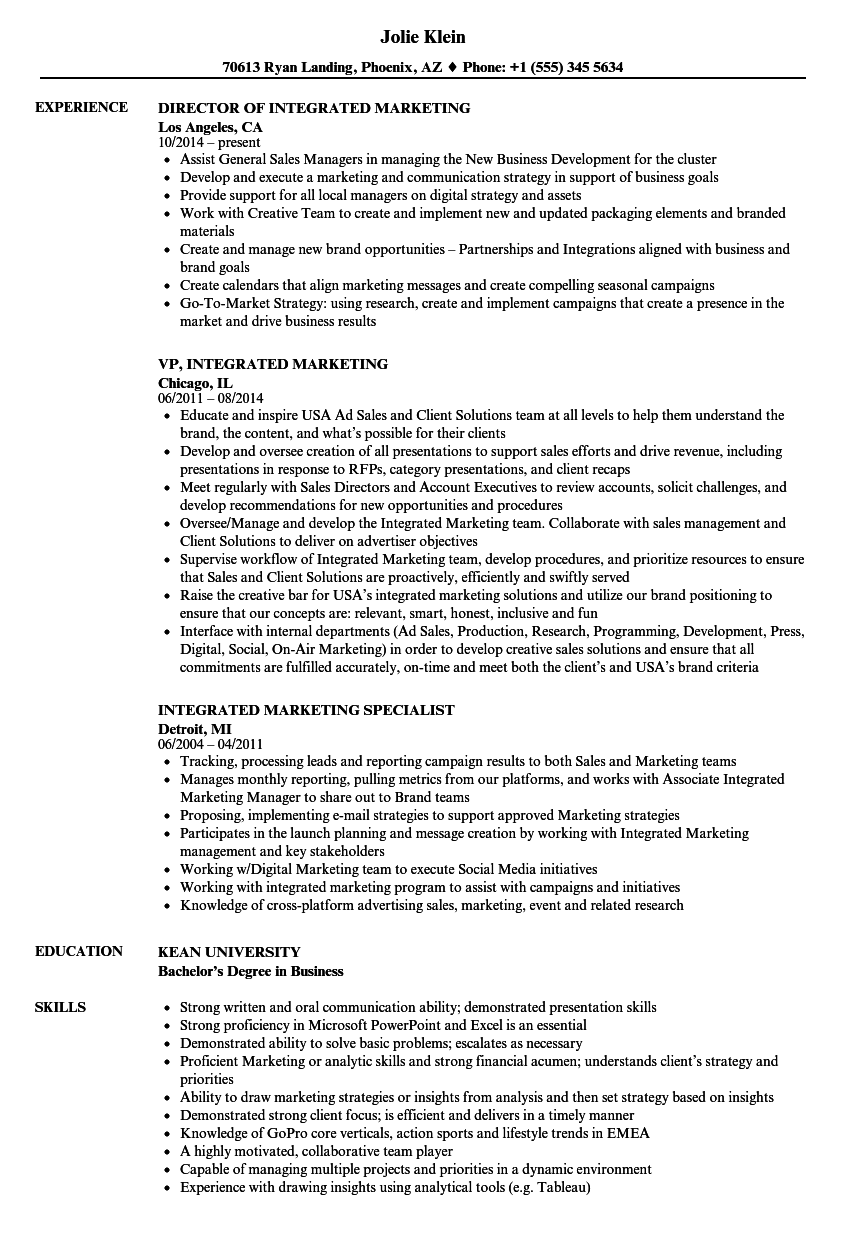 integrated marketing resume samples