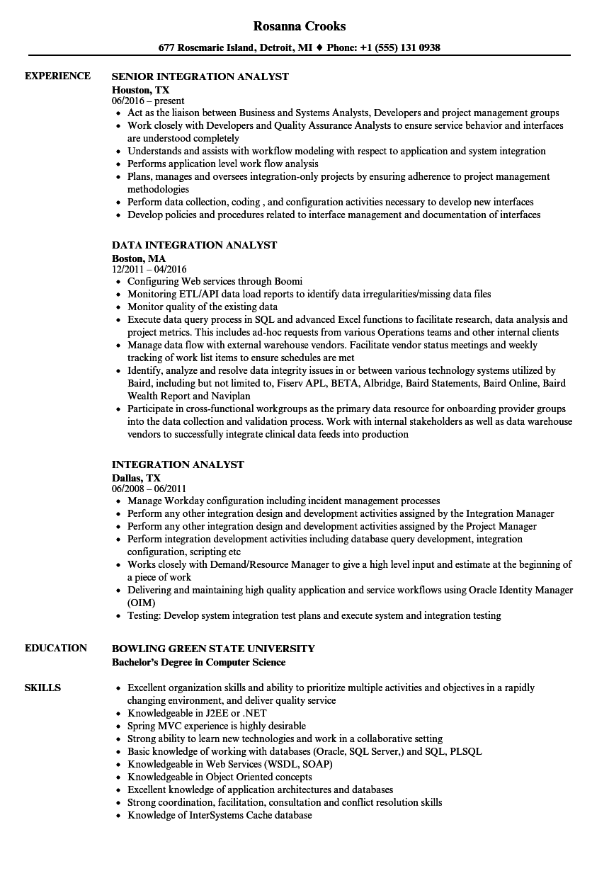integration analyst resume samples