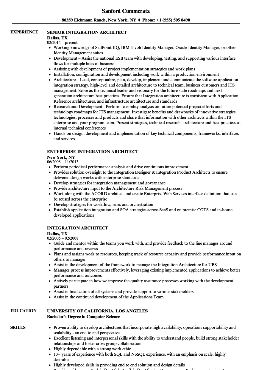 integration architect resume samples velvet jobs