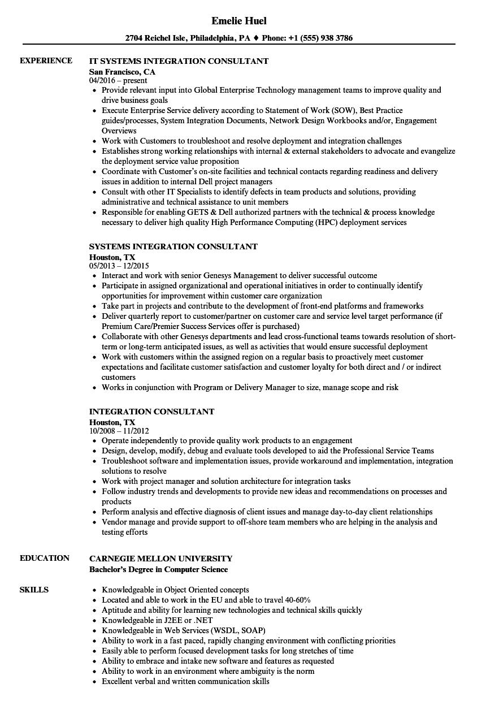 Integration Consultant Resume Samples Velvet Jobs