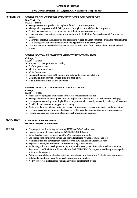 integration engineer  senior resume samples