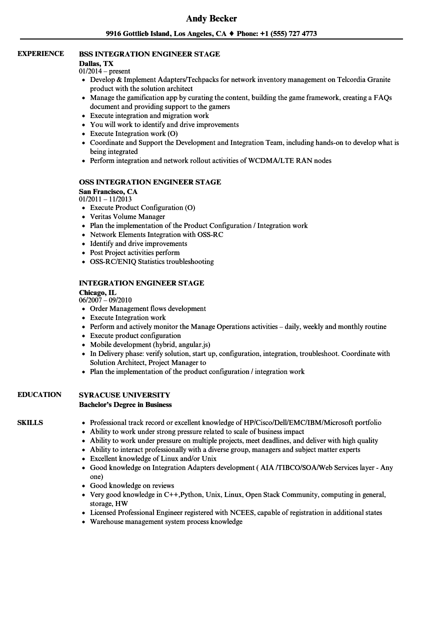 integration engineer stage resume samples
