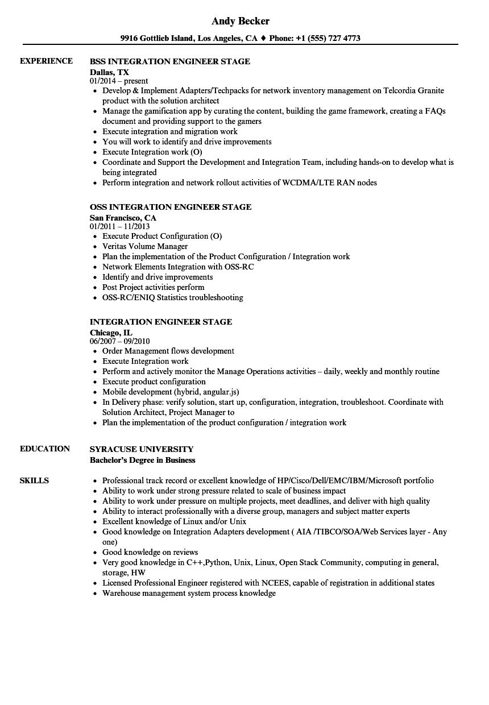 Integration Engineer Stage Resume Samples | Velvet Jobs