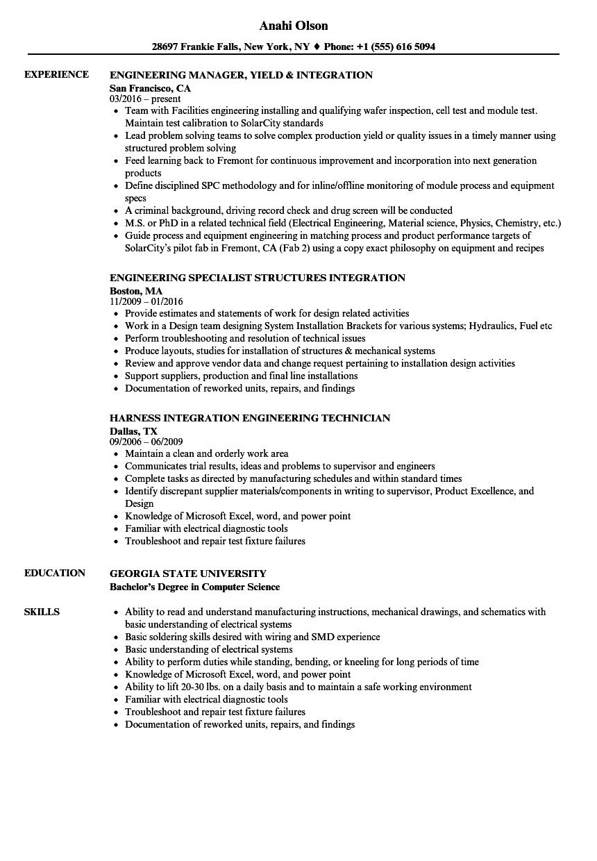 integration engineering resume samples velvet jobs