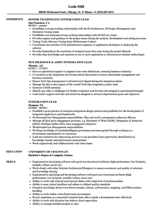 Integration Lead Resume Samples | Velvet Jobs