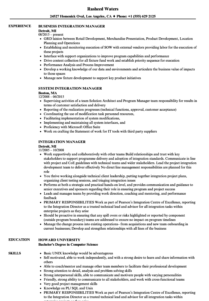 Integration Manager Resume Samples | Velvet Jobs