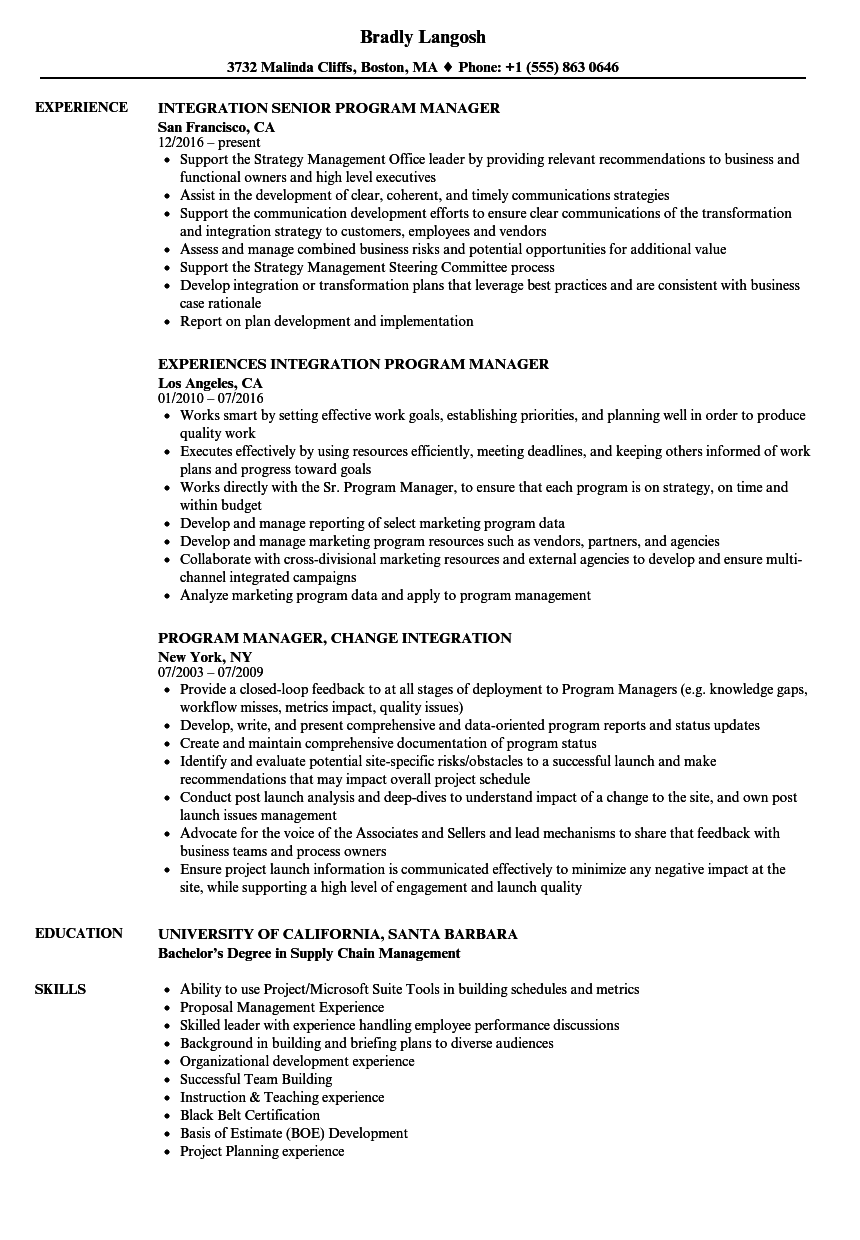 Integration Program Manager Resume Samples Velvet Jobs