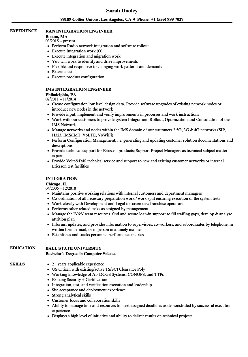 Integration Resume Samples Velvet Jobs
