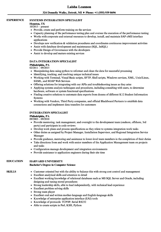 integration specialist resume samples velvet jobs