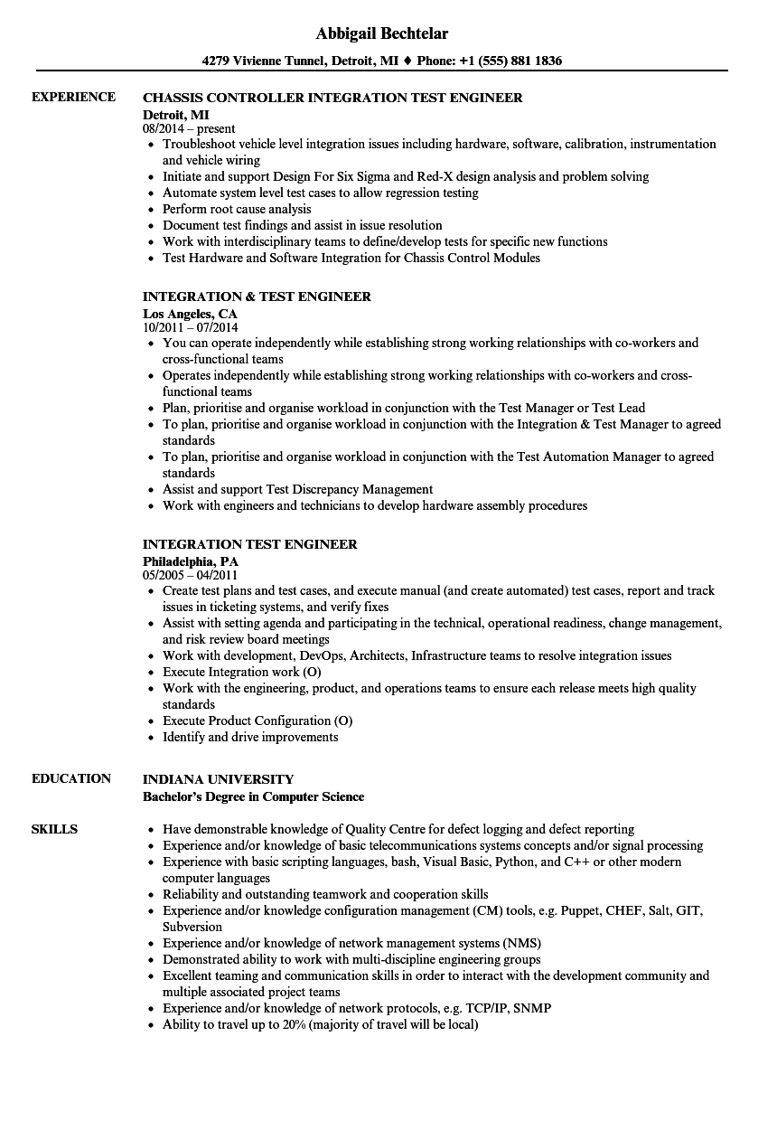 Integration & Test Engineer Resume Samples | Velvet Jobs
