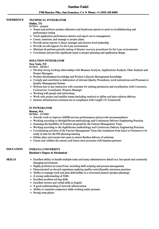 integrator resume samples