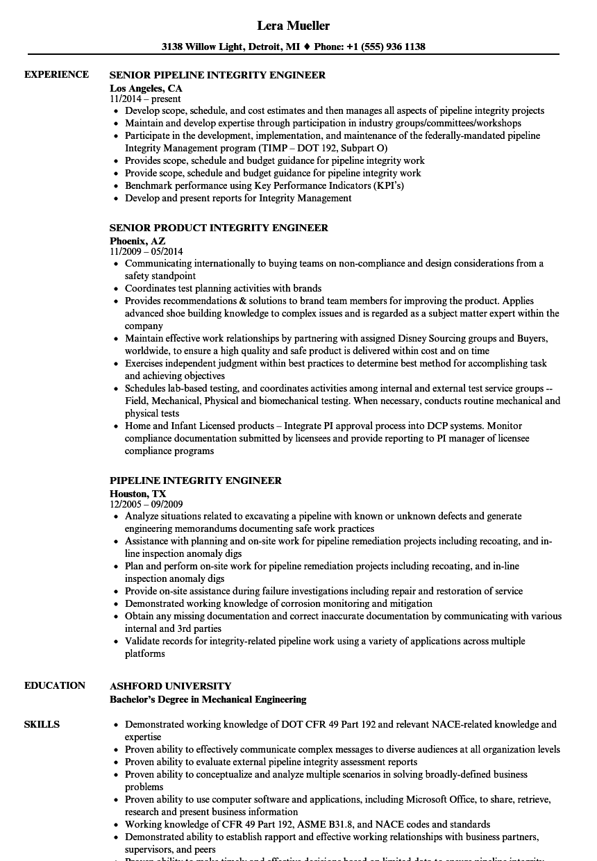 Integrity Engineer Resume Samples | Velvet Jobs