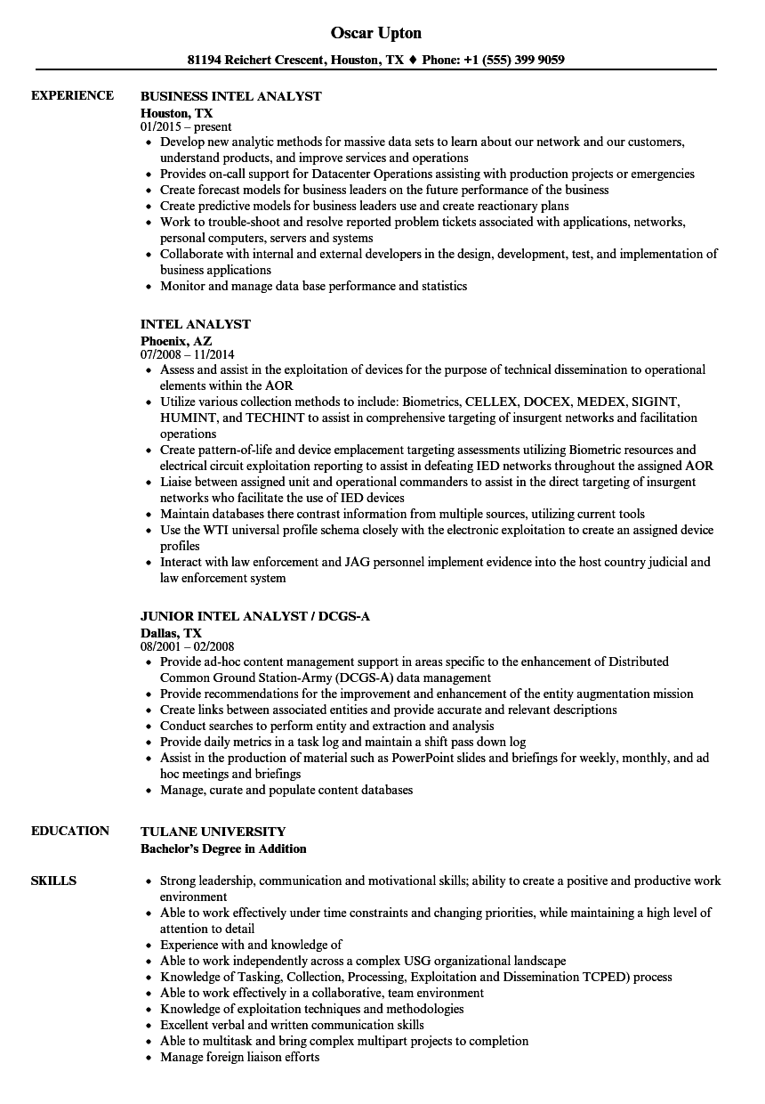 Intel Analyst Resume Samples | Velvet Jobs