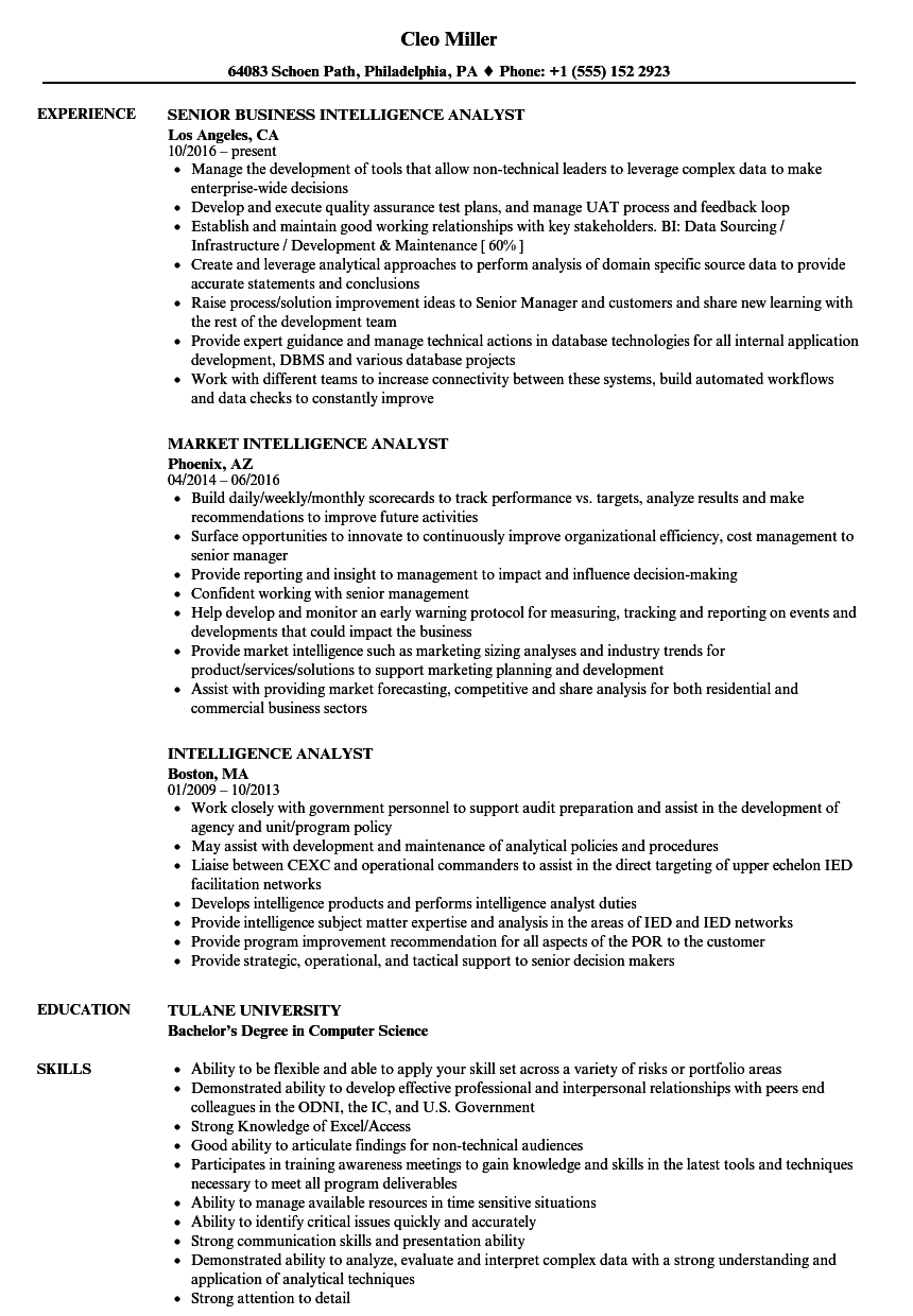 intelligence analyst resume samples