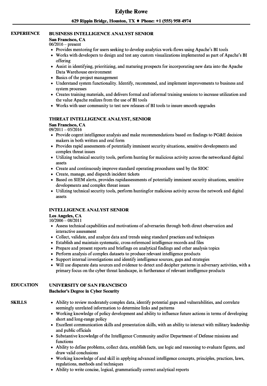 intelligence analyst  senior resume samples