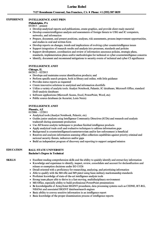 Intelligence Anst Resume Samples | Velvet Jobs