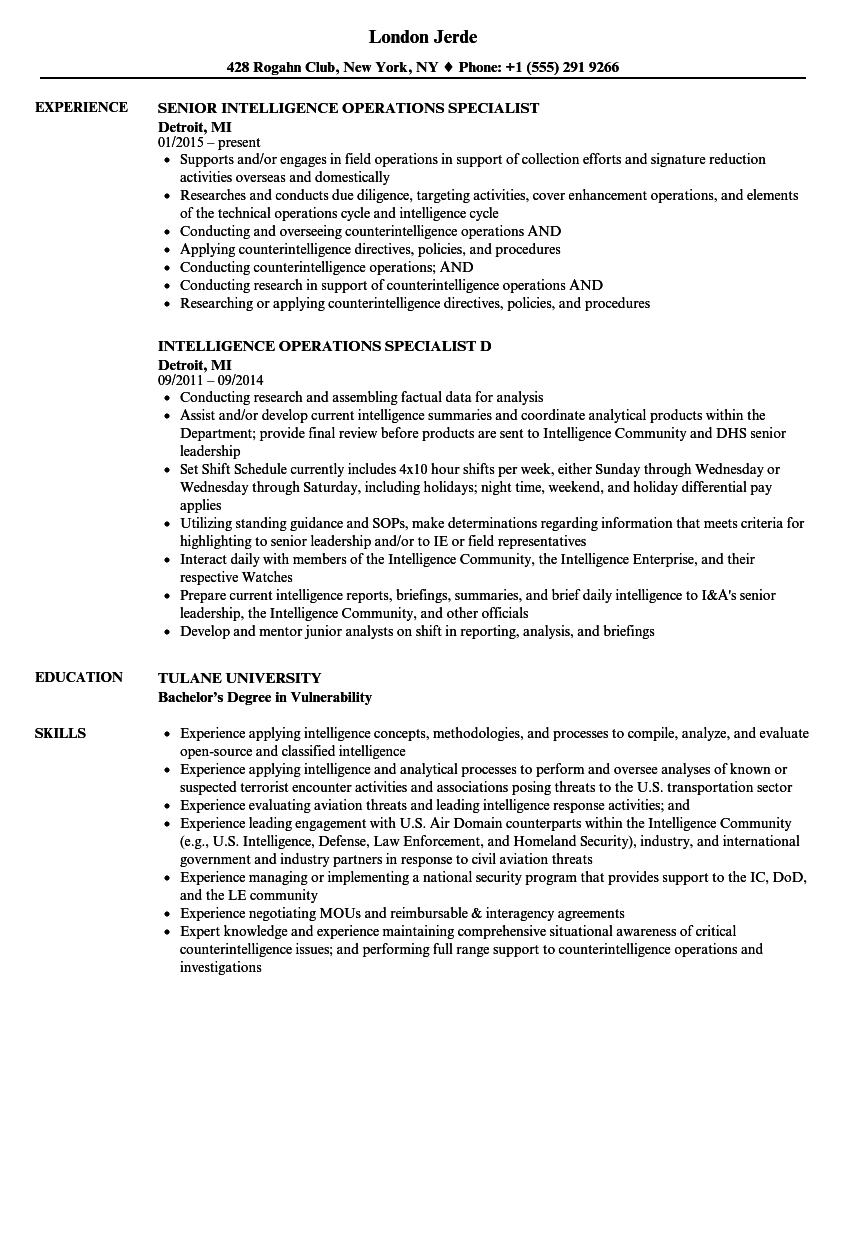 intelligence operations specialist resume samples velvet jobs