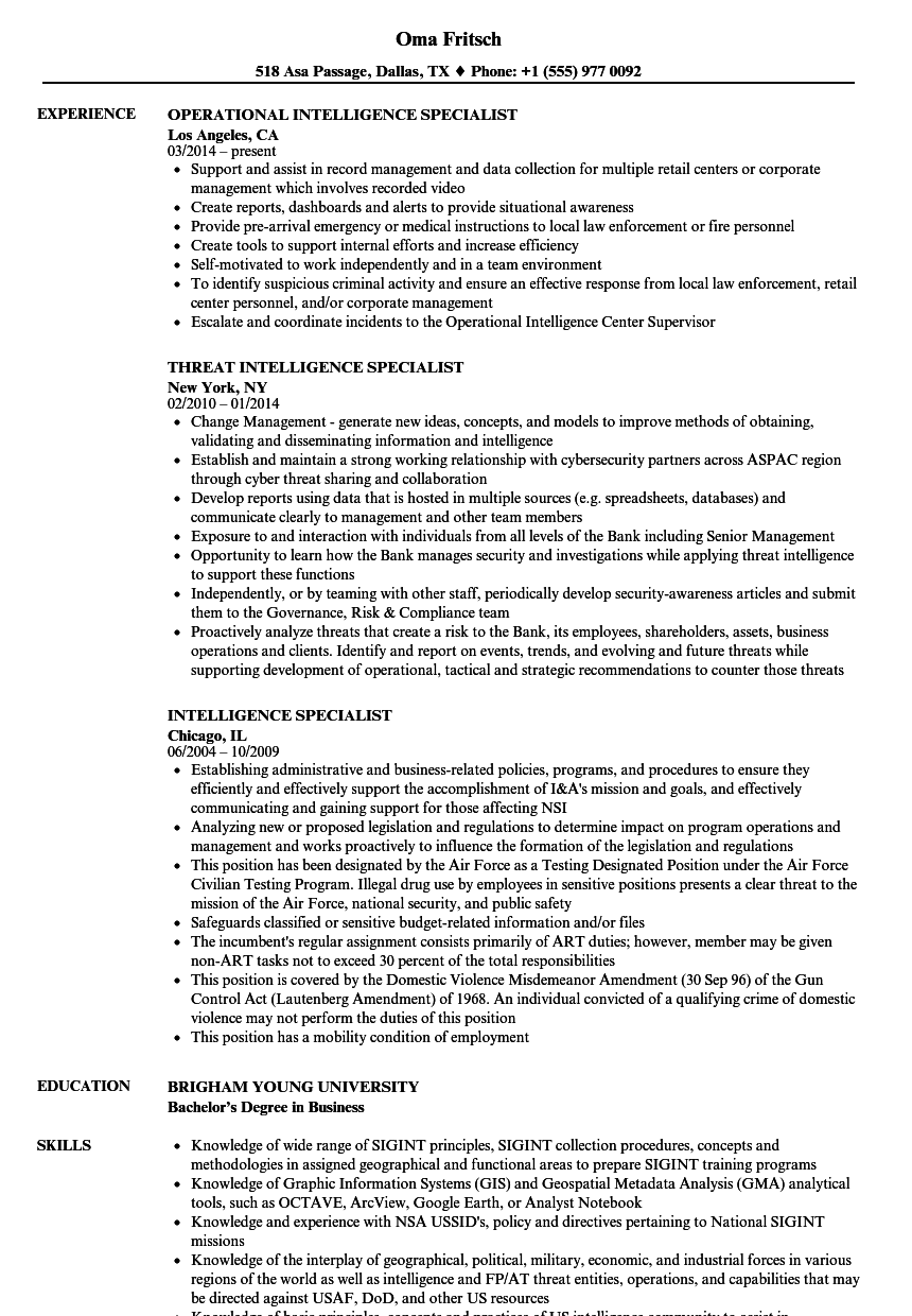 intelligence specialist resume samples