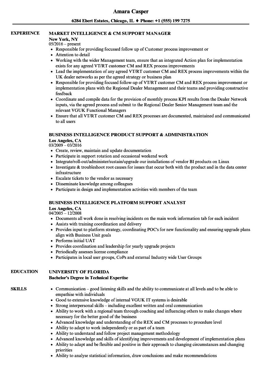 intelligence support resume samples