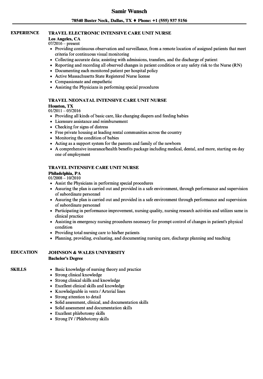 download intensive care unit nurse resume sample as image file