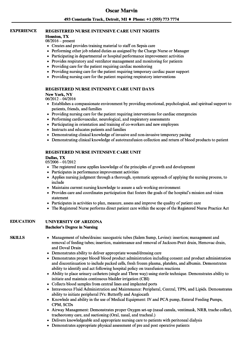 Intensive Care Unit Registered Nurse Resume Samples