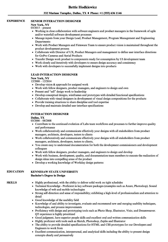 interaction designer resume samples