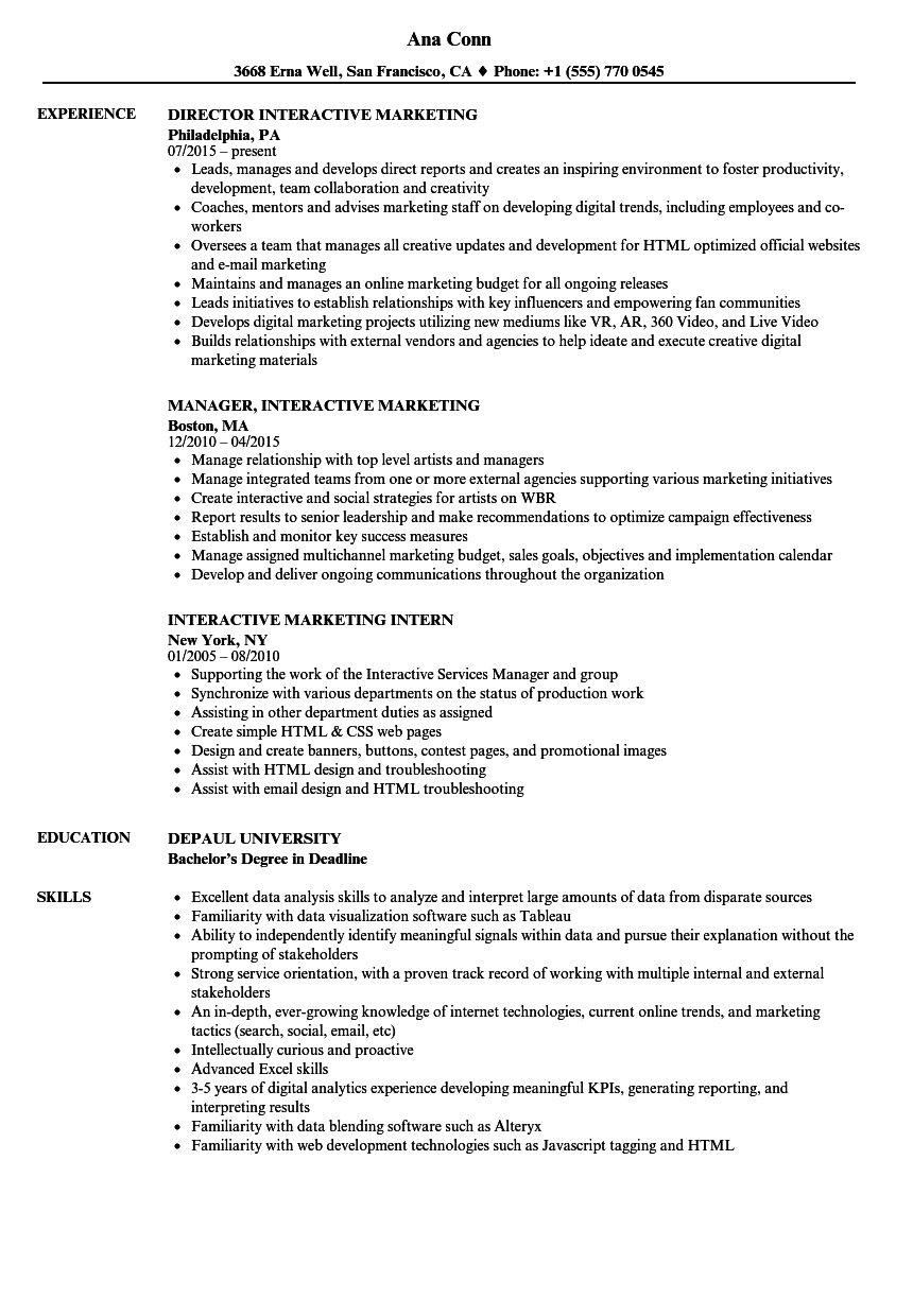 Interactive Marketing Resume Samples | Velvet Jobs