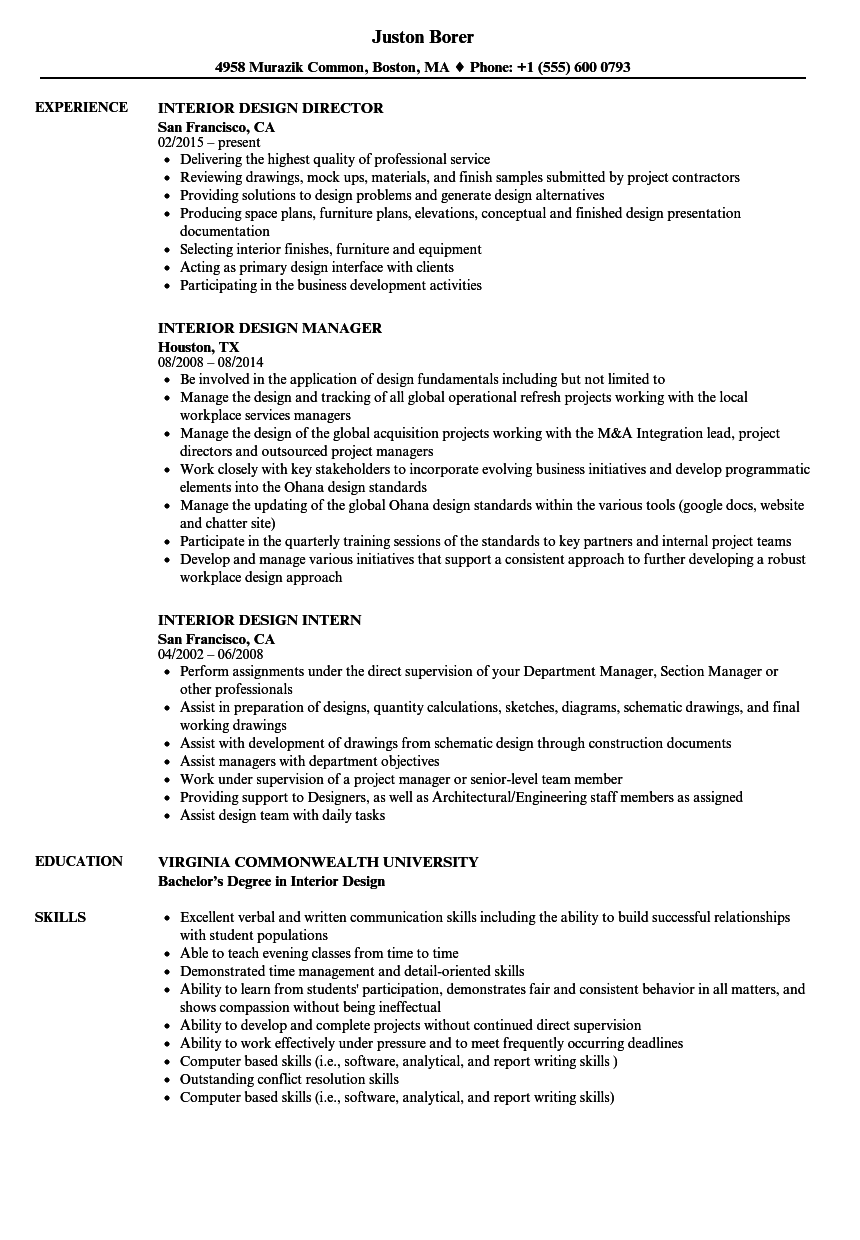 download interior design resume sample as image file - Interior Designer Resume Sample
