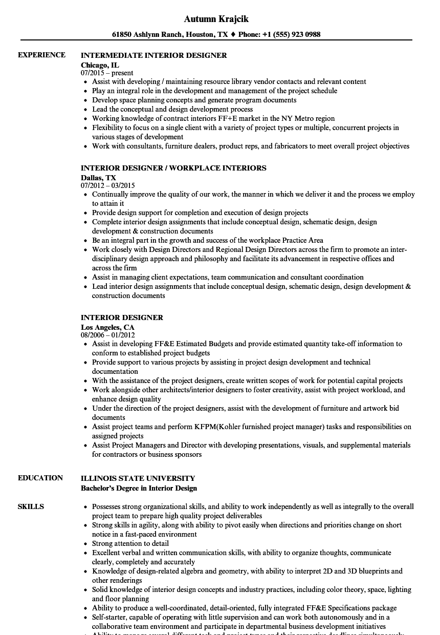 entry level interior design jobs usa resume