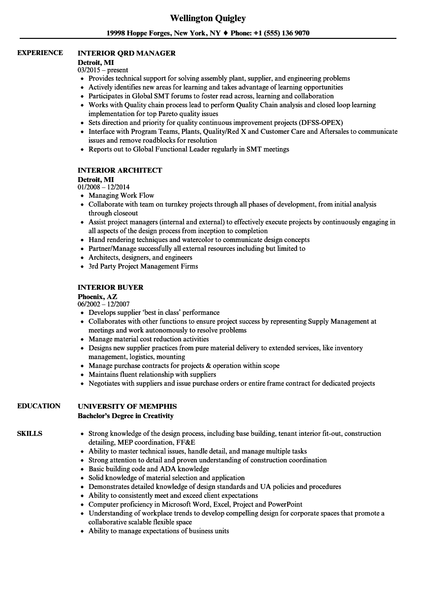 Interior Resume Samples Velvet Jobs