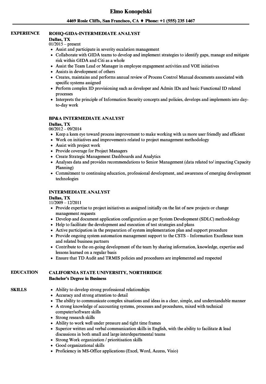 Intermediate Analyst Resume Samples Velvet Jobs
