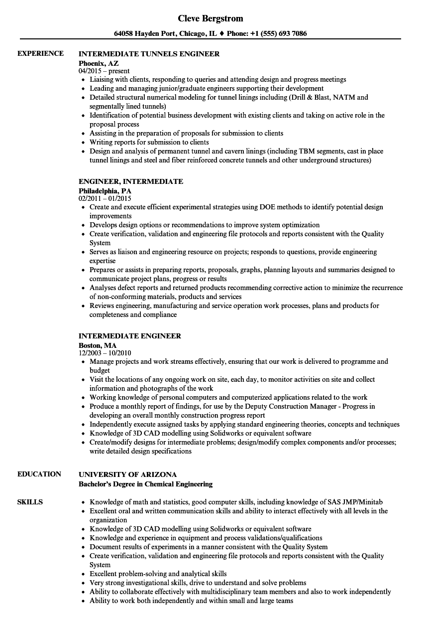 Download Intermediate Engineer Resume Sample As Image File  Chemical Engineer Resume Examples