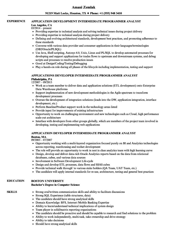 intermediate programmer analyst resume samples
