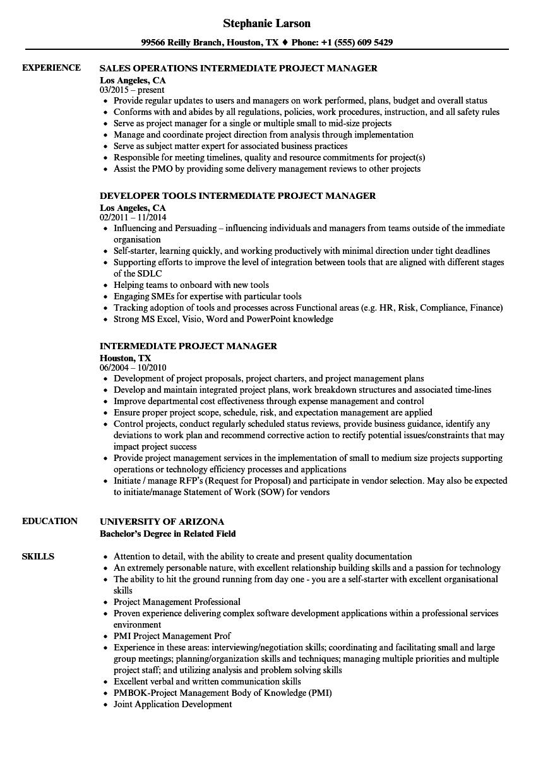 Intermediate Project Manager Resume Samples Velvet Jobs