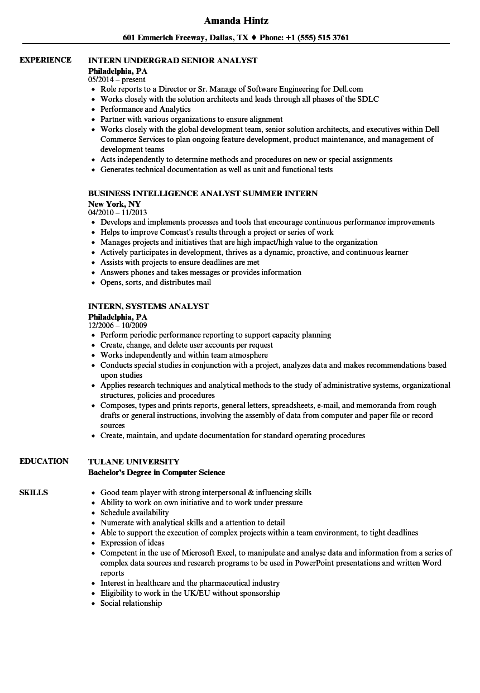 intern analyst resume samples  velvet jobs