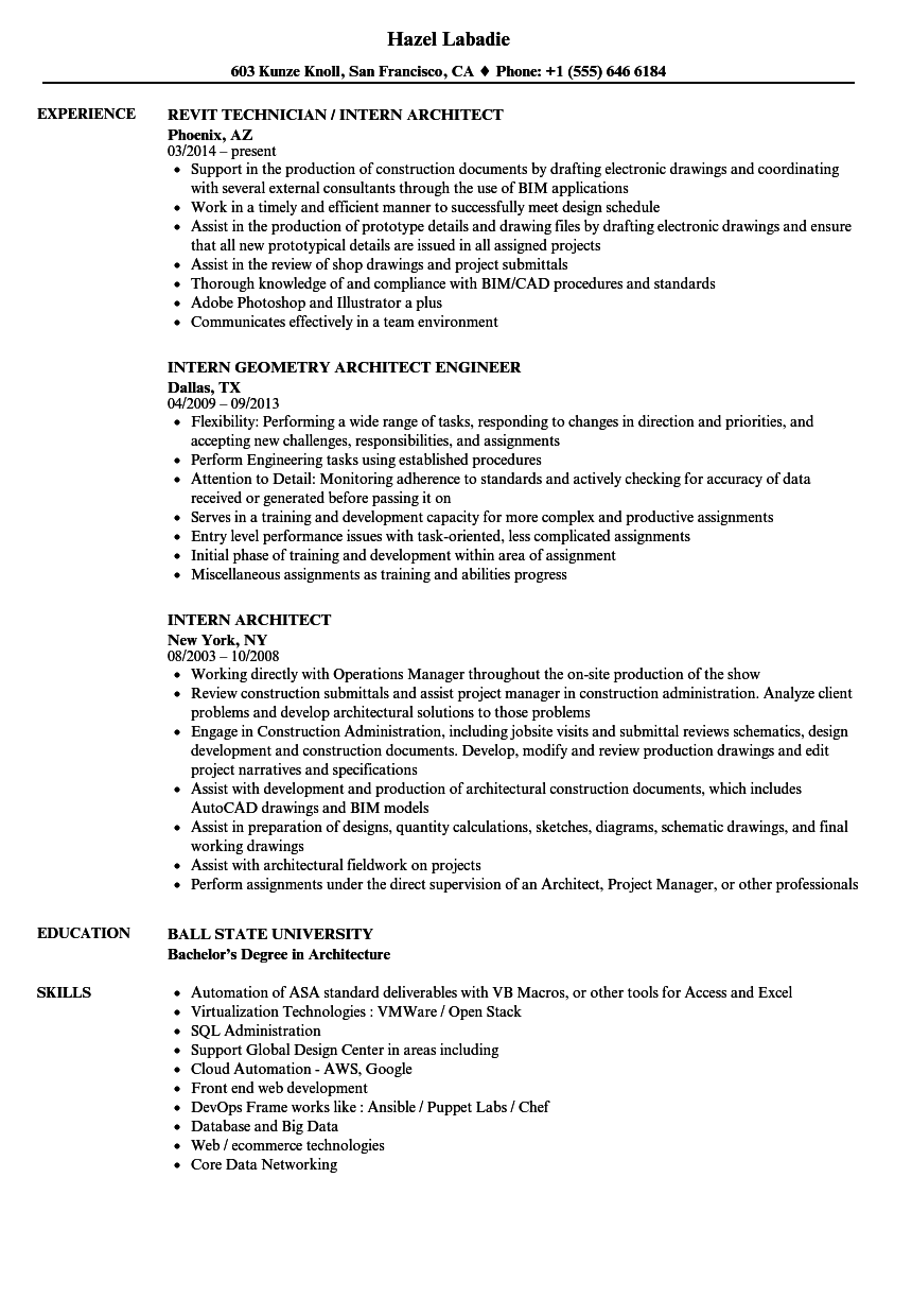 Intern Architect Resume Samples Velvet Jobs