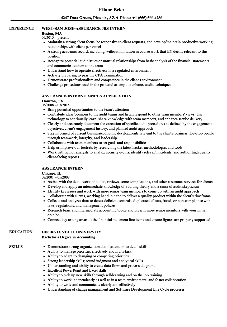 intern  assurance resume samples