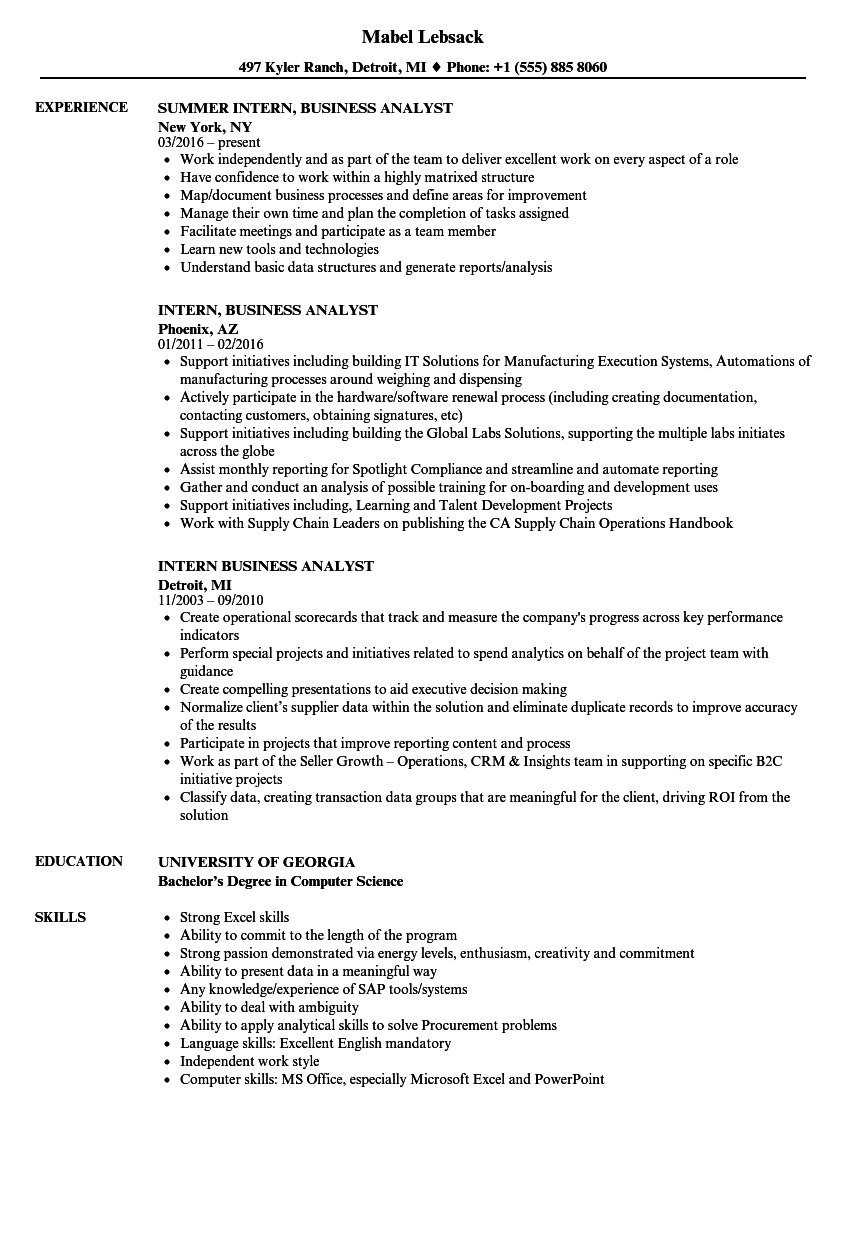Download Intern Business Analyst Resume Sample As Image File