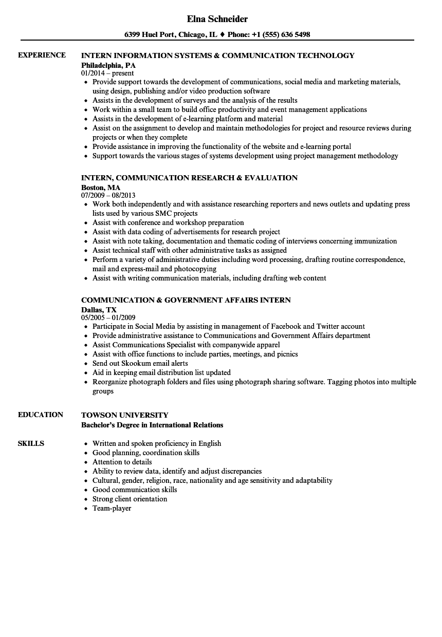 intern communication resume samples