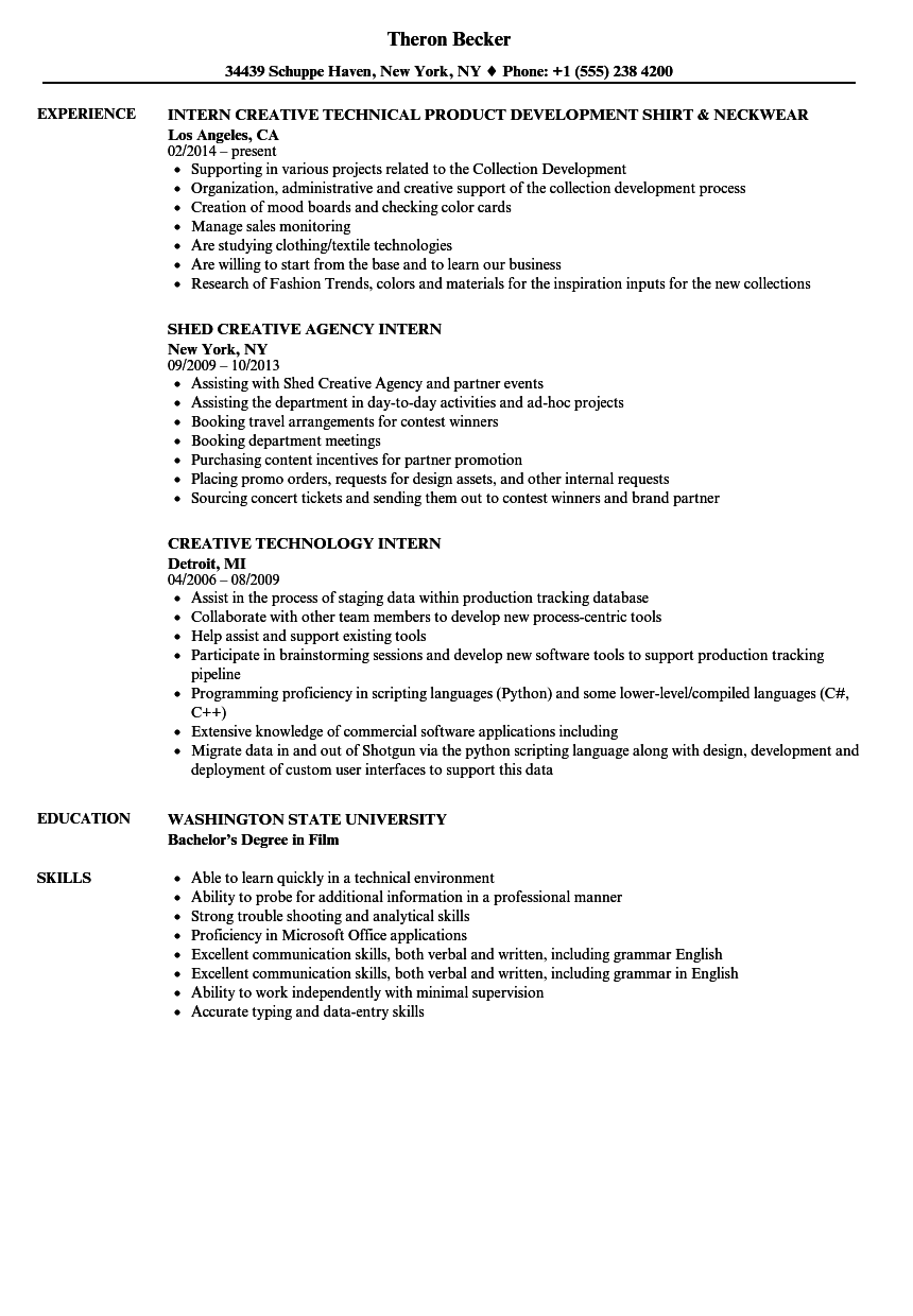 Intern, Creative Resume Samples | Velvet Jobs