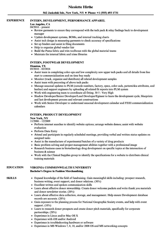 intern  development resume samples