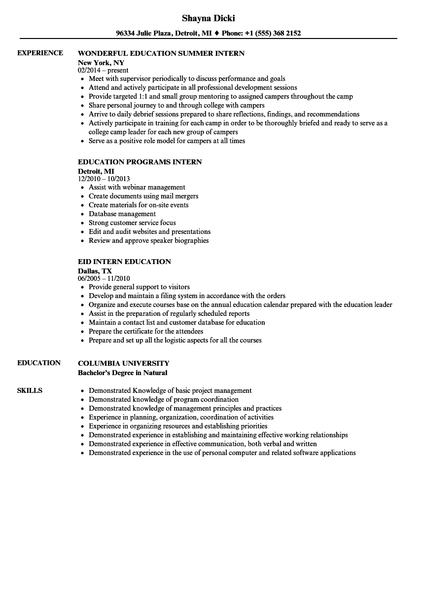 Intern Education Resume Samples Velvet Jobs